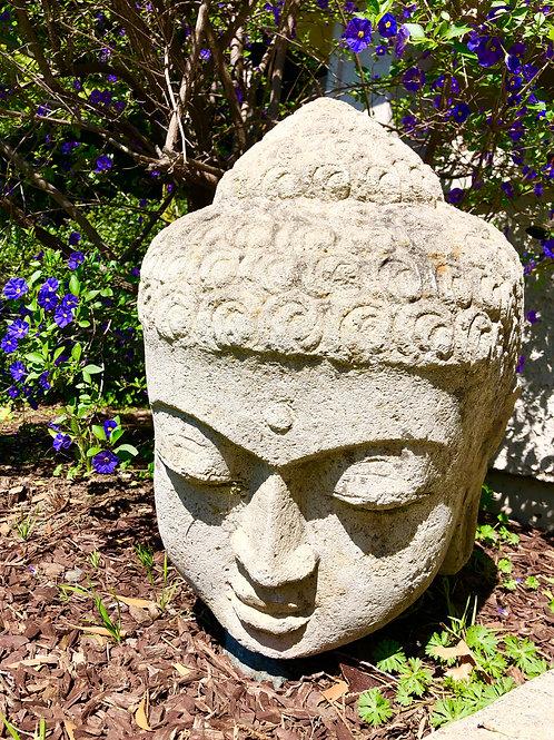 Large Lava Stone Buddha head sculpture garden art