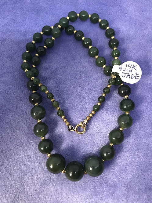 14k Gold And Jade 16in Beaded Necklace