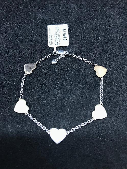 Sterling Silver Tri-tone Heart Bracelet