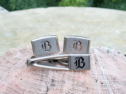 "Silvertone Hicock Cufflinks And Tie Clipbar Initial ""B"" Set"