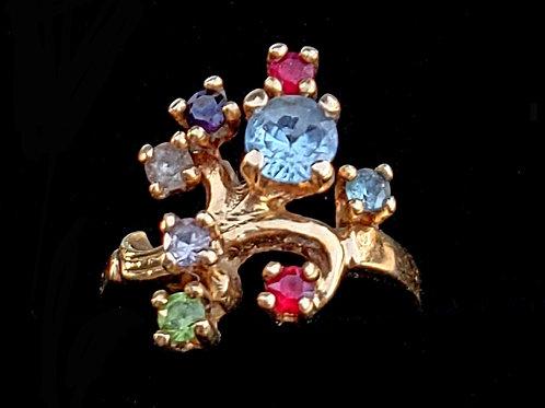 Vintage Estate 14k Gold Aquamarine, Topaz, Spinel, Peridot multi Gemstone Ring