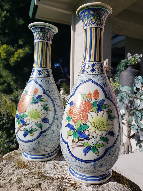 Vintage Signed Chinese Hand Painted Porcelain Flower Vases