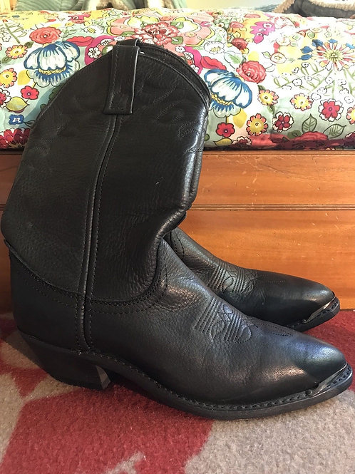 Womens Black Leather Cowboy Boots Size 6.5