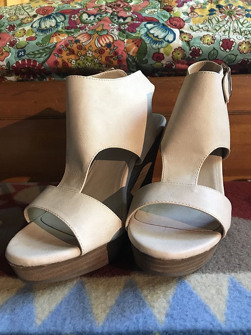 Restricted Nude Open Toe Wedge Shoe Size 9