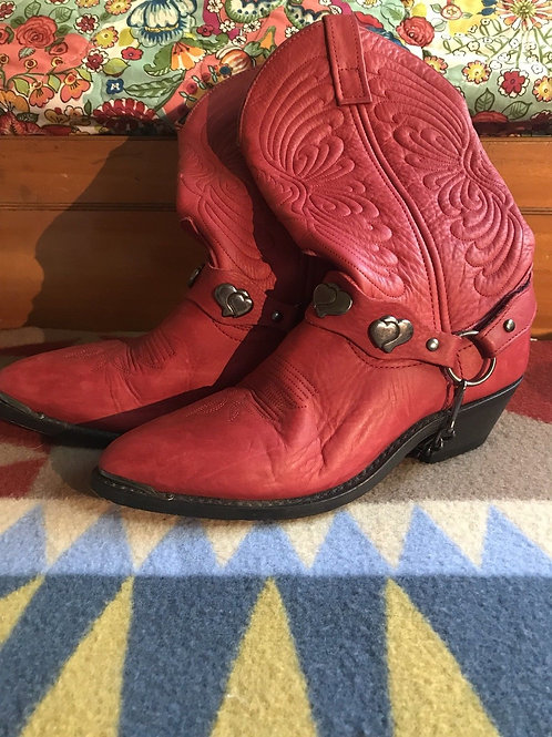 Womens Red Leather Cowboy Boots Size 6.5