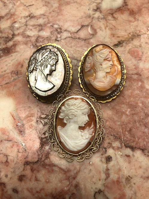 Lot of 3 Victorian Shell Cameo Pins