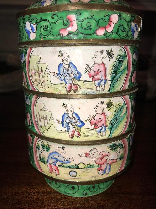 Antique Qing Dynasty Cloisonné Enamel Stacking Food/trinket Box