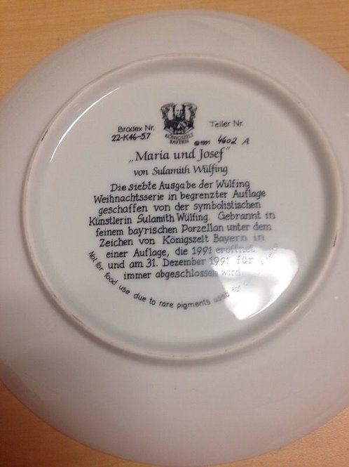 "Königszelt Bayern 1991 ""Maria Und Josef"" Christmas Collectors Plate"