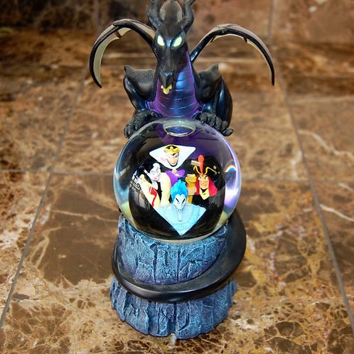 RARE Disney Store Multi Villains Dragon Evil Queen Large Snowglobe w/ Box