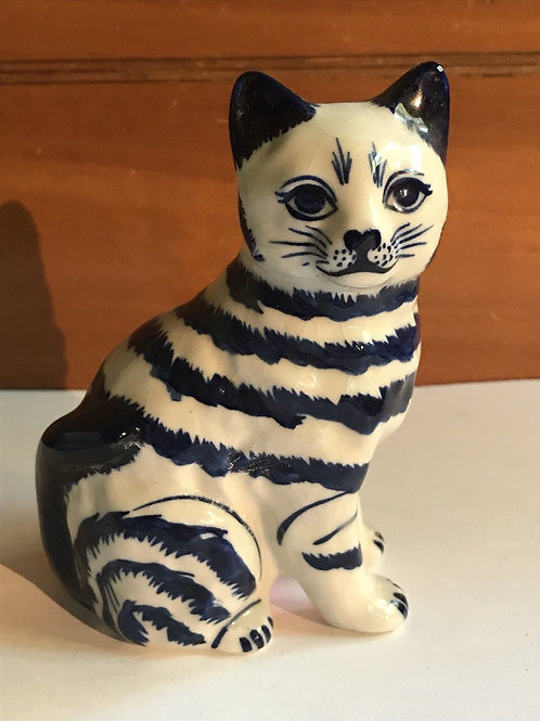 Small Blue And White Cat Statue Made In Thailand