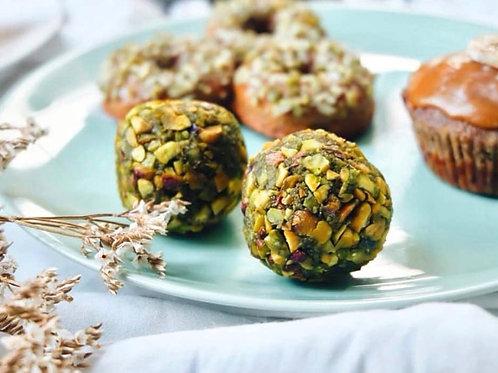 Vegan matcha pistachio energy balls