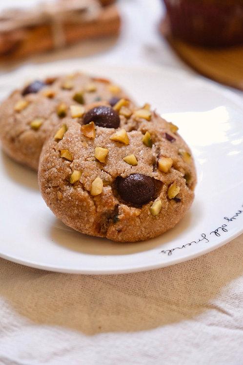 Vegan Dark chocolate & Pistachio soft baked cookies