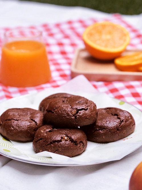 Vegan soft baked cacao hazelnut cookies