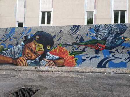 Nate Dee completes a 1400 sq ft mural in Port-au-Prince for FestiGraffiti 3rd ed. mural fest