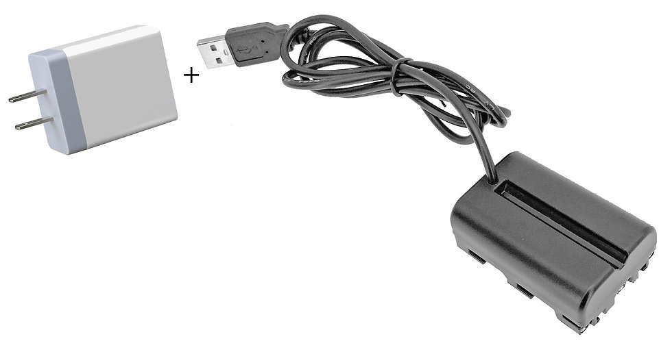 "USB to Sony NP-FM500H 40"" Dummy Battery Adaptor Cable w/ 3.1Amp Power Supply"