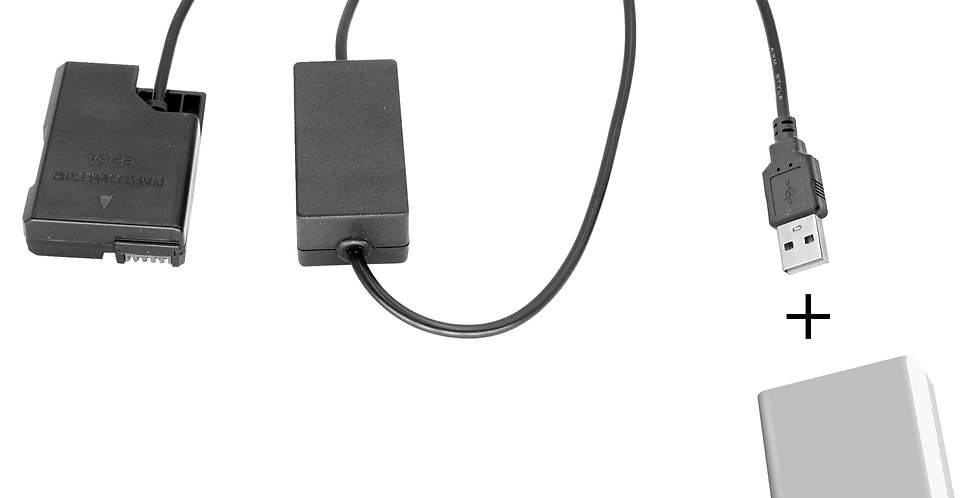 USB TO NIKON EN-EL14 DUMMY BATTERY (EP-5A)  40'  ADAPTER CABLE W/ POWER SUPPLY