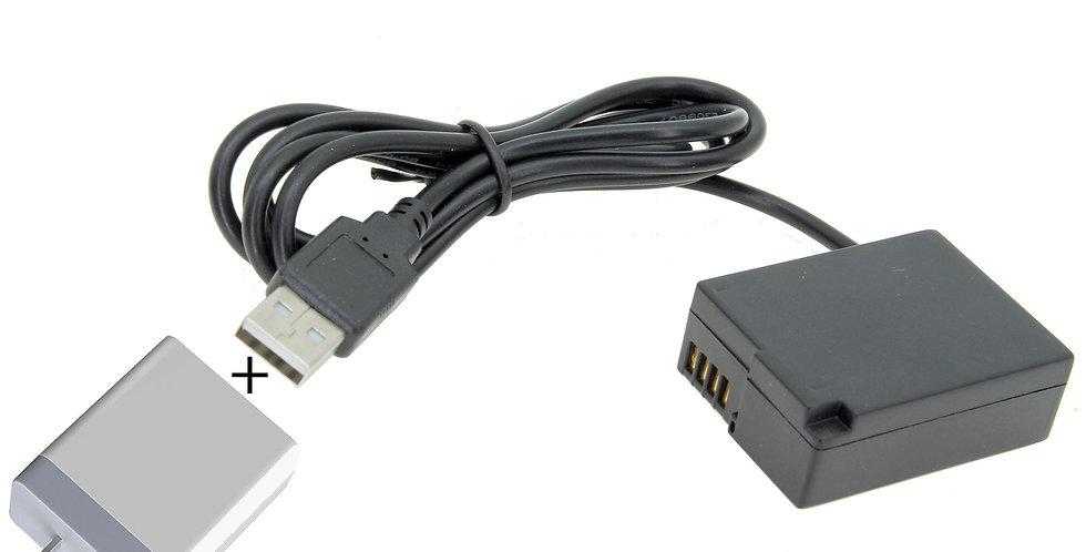 "USB TO PANASONIC DMC-GH2 (DMW-BLC12) BATTERY 40"" CABLE w/ 3.1A USB POWER SUPPLY"