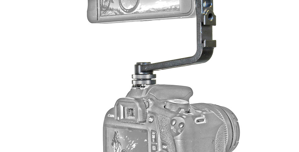 """L-Shape Bracket with Hot Shoe and  1/4""""-20 Mounting Options"""