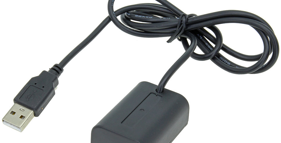 """USB TO SONY NP-FV50 DUMMY BATTERY 40"""" ADAPTER CABLE"""