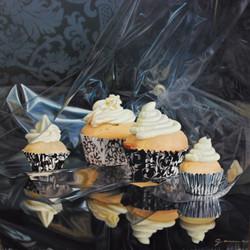 2579-Cupcakes tapisserie, huile sur panneau, 24x24 po.