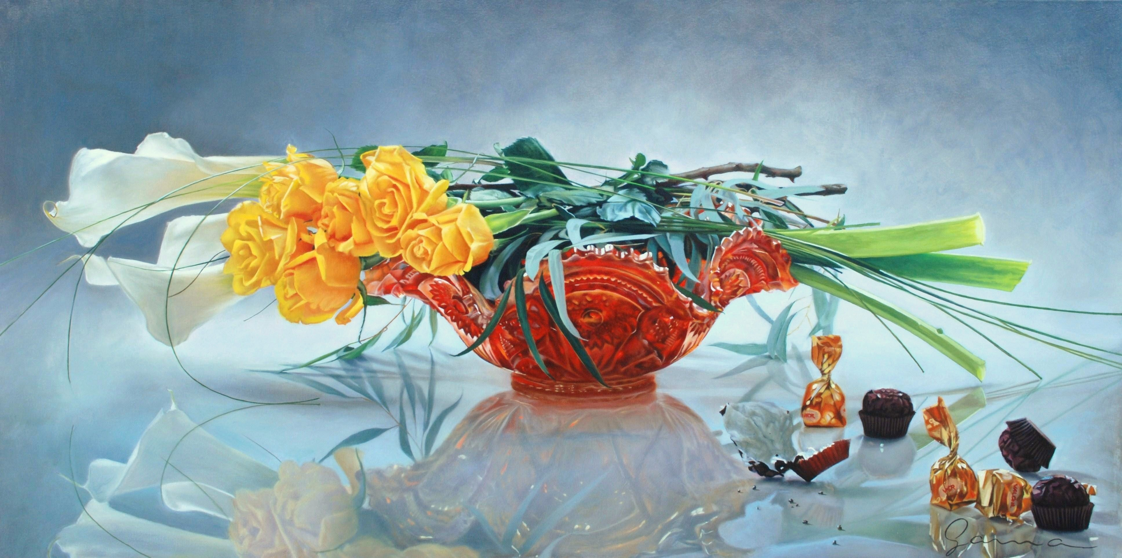 Roses+and+Callas+on+carnival+vase,+Oil,+24x48+ins.