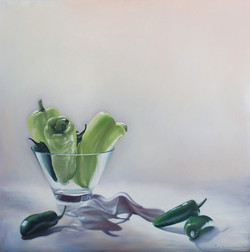 Green+peppers+in+a+vase,+Oil+on+canvas,+30+x+30+ins.