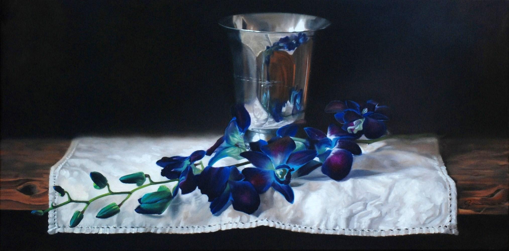 Vase+d+argent+et+orchidée