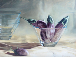 5-Striped+eggplants+in+a+vase,+Oil+on+canvas,++18+x+24+ins.