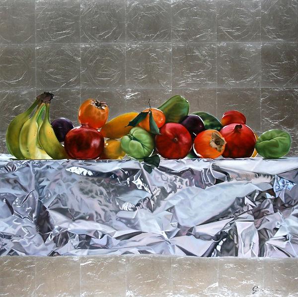 Fruits et drapé métal I, 36x36 po_