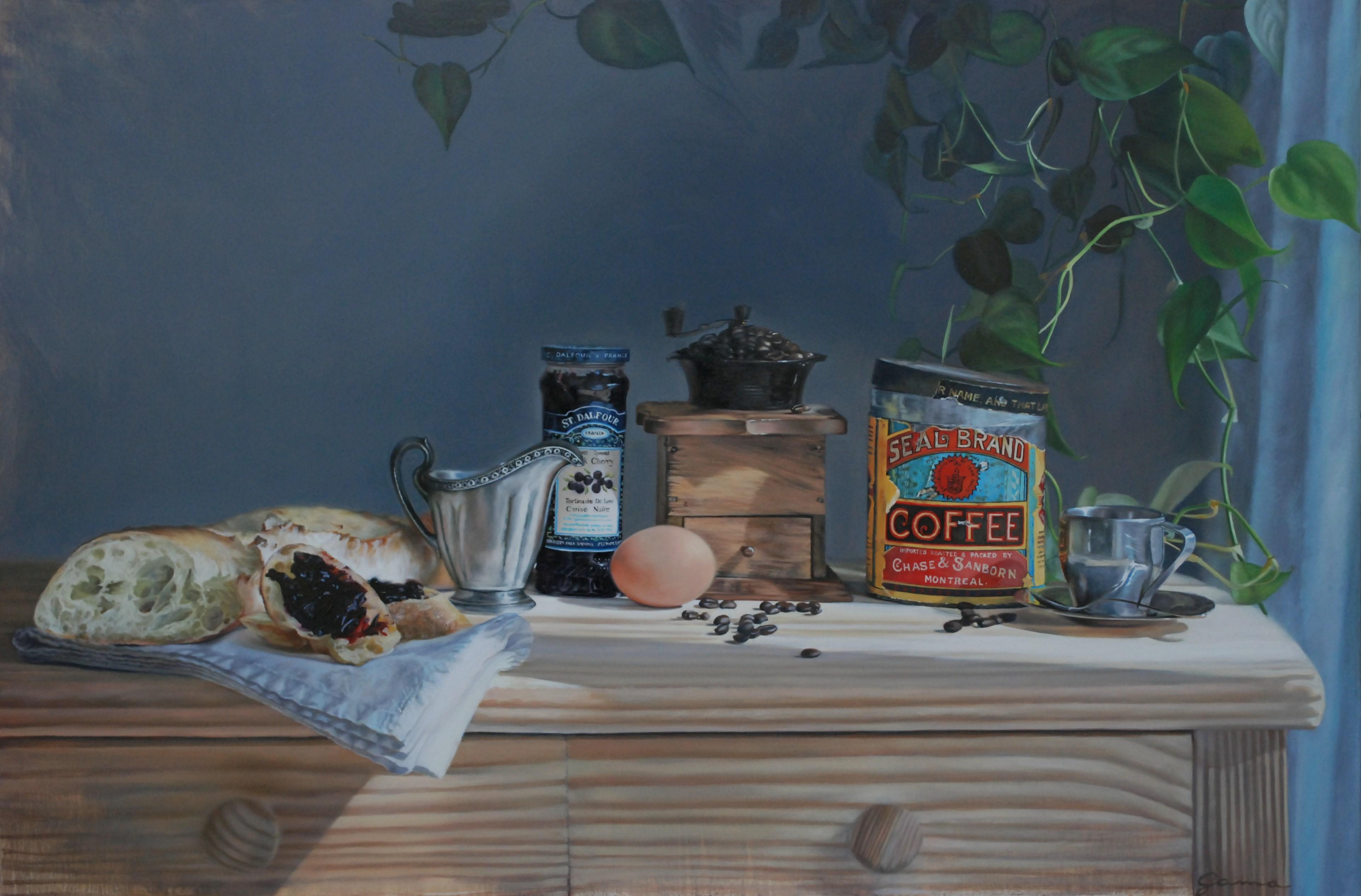 Moulin à café, pain et confitures, Huile sur panneau de bois, 24x36 po.