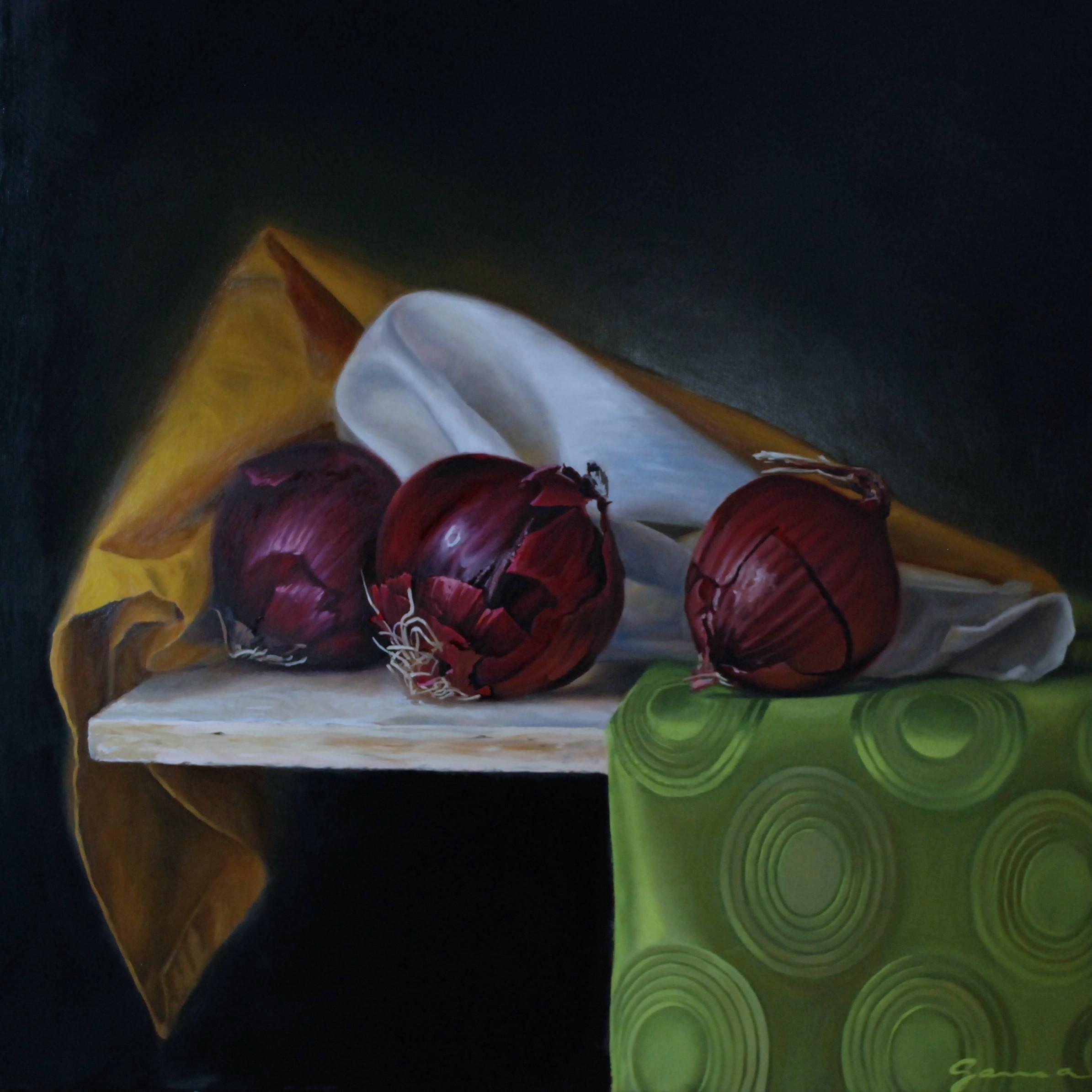 Trois oignons rouges, Huile sur panneau, 20x20 po.