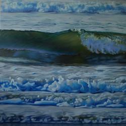 2575- Le bruit des vagues, Huile sur panneau, 36x36 po.
