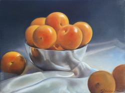 Petit+bol+de+prunes+jaunes,+Huile+sur+toile,++9+x+11+po.,+2009,