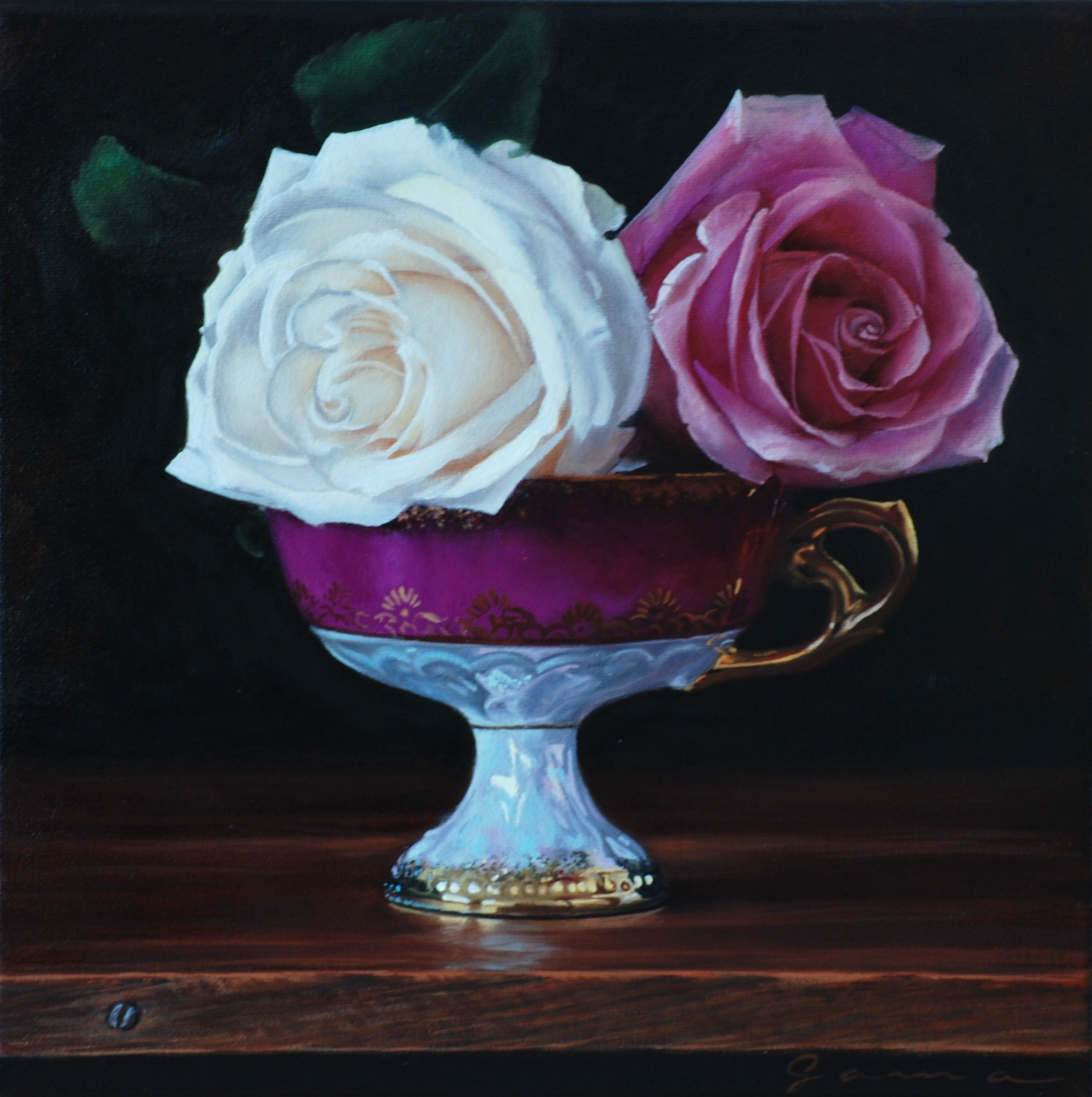 15-Anciant+cup+with+roses+II,+Oil+on+canvas,++10x10+ins.
