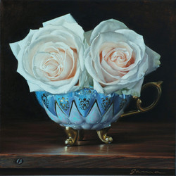 14-Anciant+cup+with+roses+III,+Oil+on+canvas,++10x10+ins.