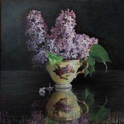 2597-Tasse ancienne et lilas, Huile sur