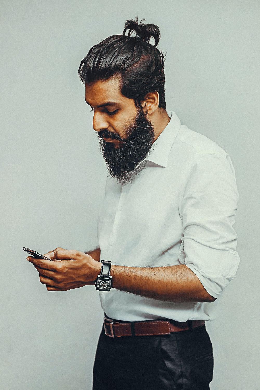 A man looking at his phone