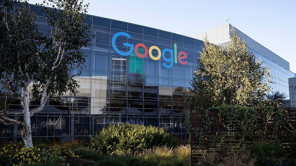 A building with the name google on the side of it