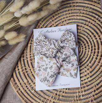 Duo Noeuds Fleurs de coton & Romantic Bl