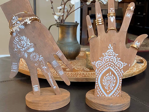 Henna Hands Jewelry Stands Set of 2