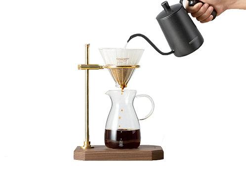 Brewing Coffee Set with Walnut Brass Stand