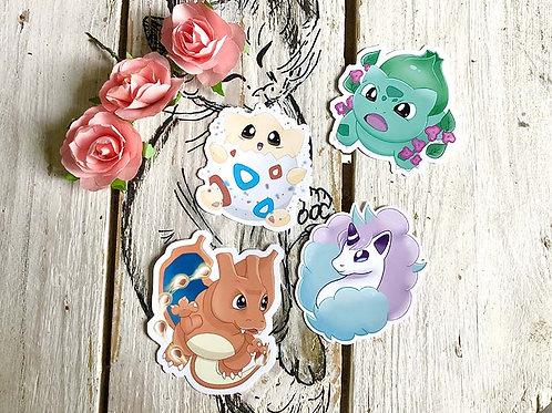 Stickers Ponyta de Galar / Dracaufeu / Bulbizarre / Togepi