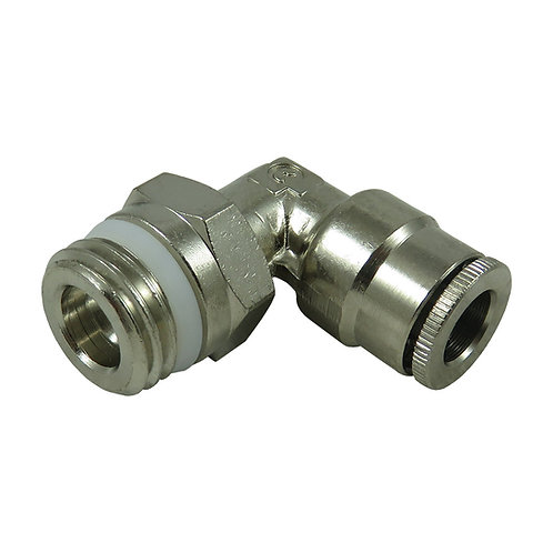 Camozzi 1/4 NPTM x 1/4 push, 90 degree elbow air fitting