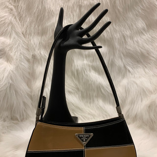 Prada Brown and Black Smooth Leather Clu