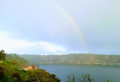 Rainbow over the blue lake