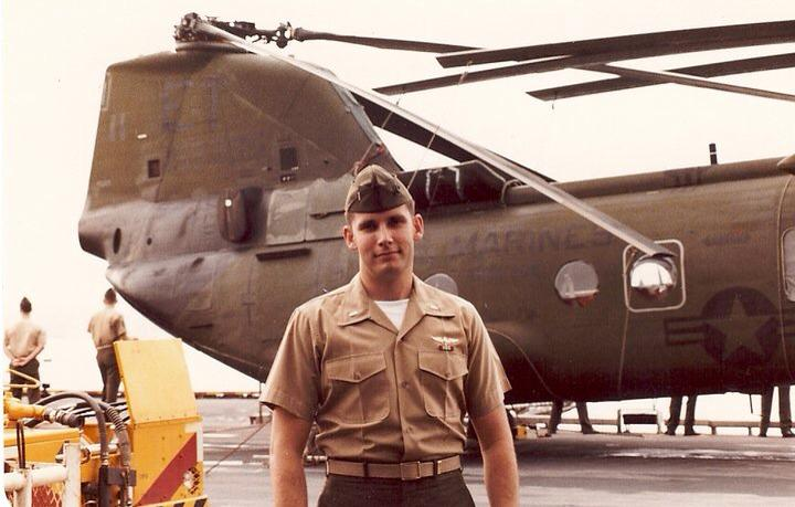 Bob Walden and CH46 helicopter