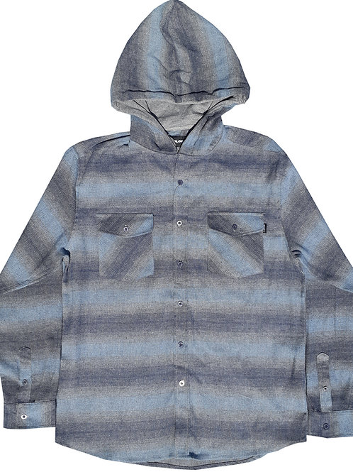 Light Blue and Charcoal Hooded Flannel