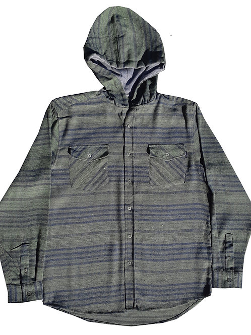 Olive Green Hooded Flannel