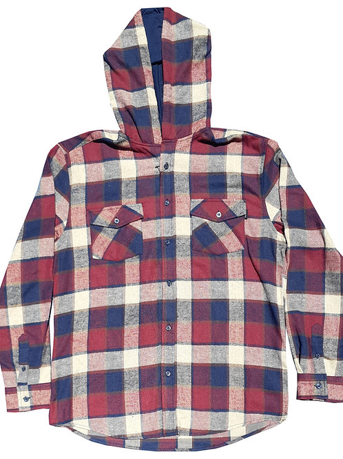 Hooded Red And Navy Flannel