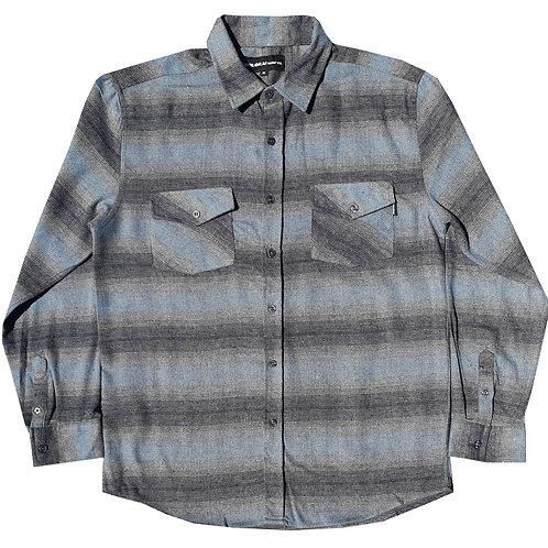 Light Blue and Charcoal Grey Striped Flannel